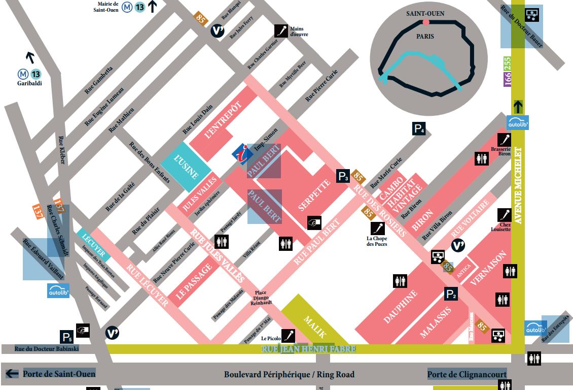 plan des 15 marchés aux puces de Saint-Ouen/Clignancourt