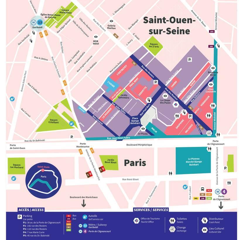 Plan du Marché aux Puces de Paris - Saint-Ouen