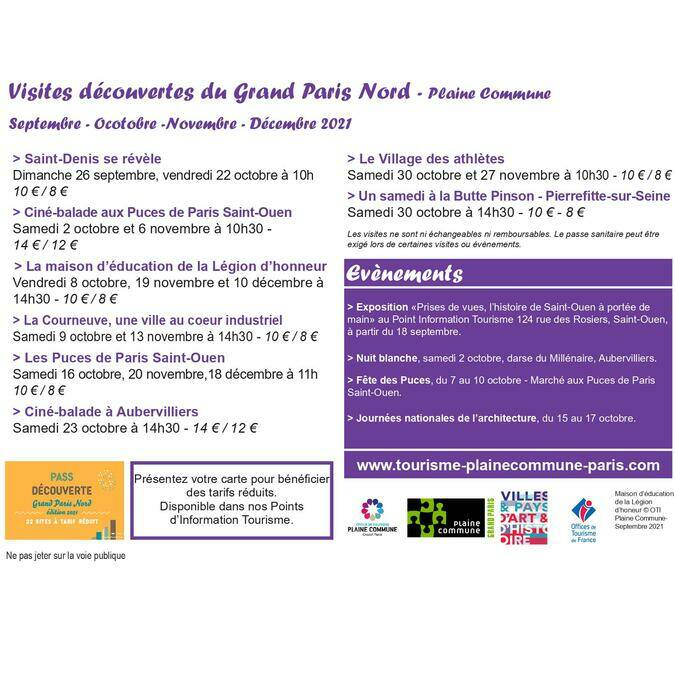 Programme du 3e trimestre 2021 des visites guidées de l'office de tourisme de Plaine Commune Grand Paris